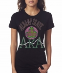 ALBANY STATE/AKA- MY HBCU BLACK Chapter Bling T-Shirt (Sizes 2x-large - 3x-large)