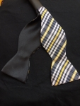 Black and Gold Plaid Self-Tie Bow Tie