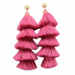 Long pink 5 tiered fringed tassel earrings.