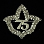 AKA Swarovski Crystal Ivy Leaf DIAMOND SOROR Pin-75 YEARS