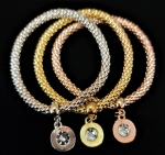 Tri-Colored Jewelry Set with Round Crystal Stone Charms